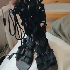 Free people black leather sandals size 38(US 8)